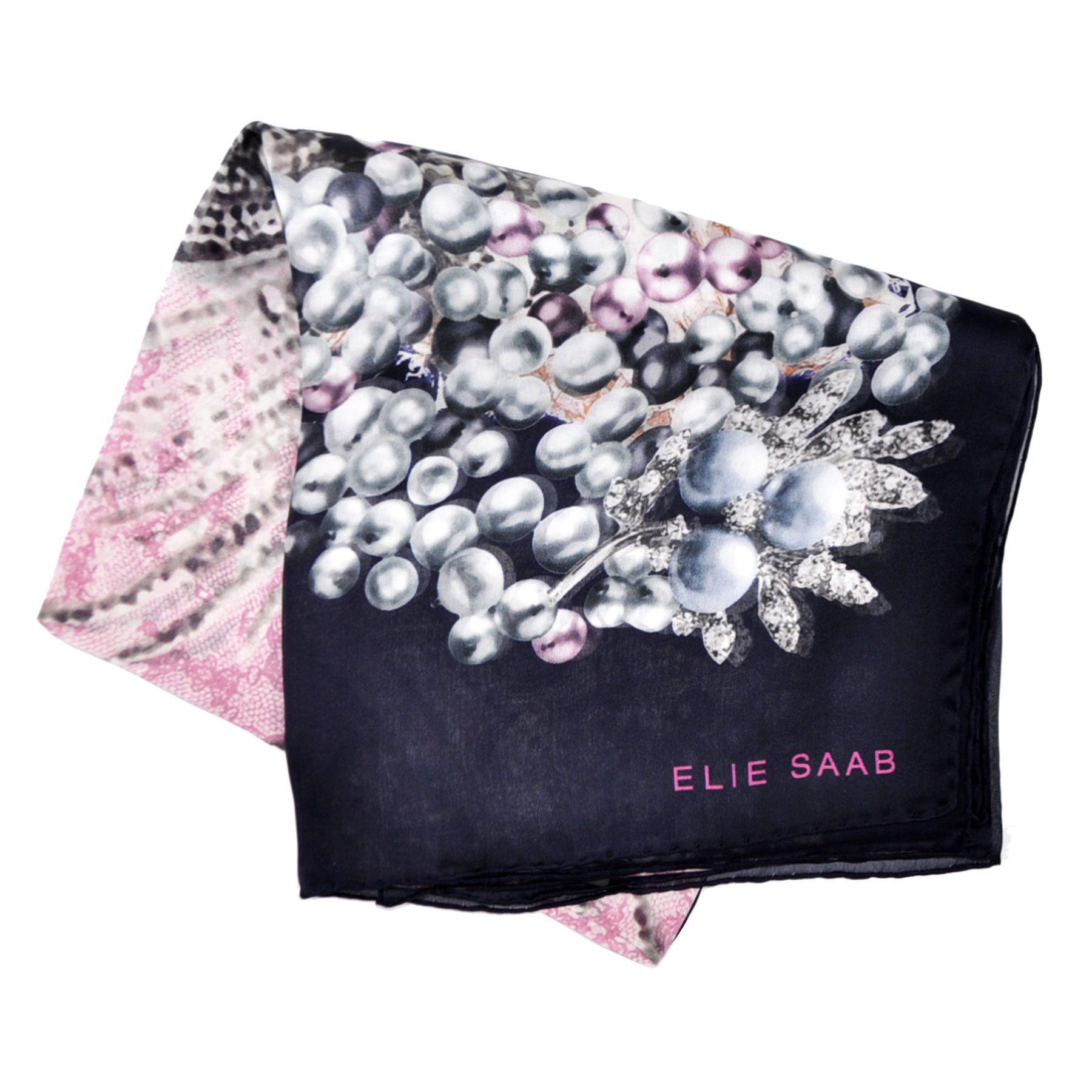 9219f5787 Elie Saab Scarf Black Pink Pearls Design Chiffon Silk Stola from Como Milano