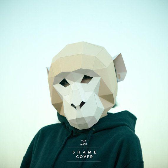 make monkey mask ape mask polygon mask halloween diy paper pdf face