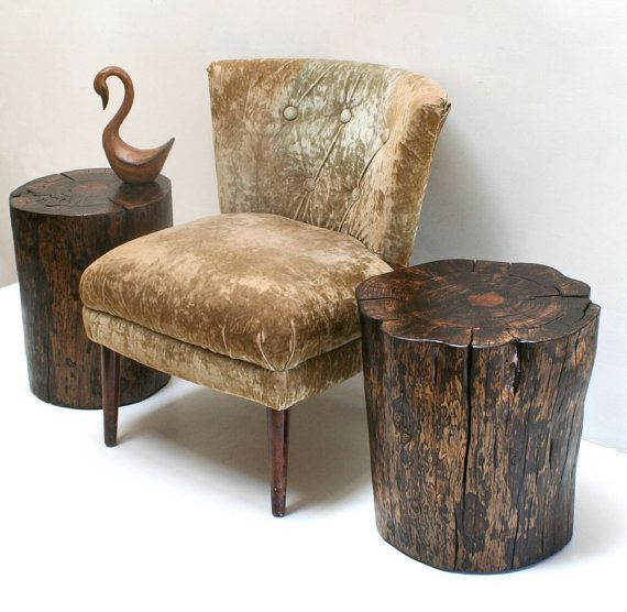 Ebony Washed Tree Stump Nightstand End Table by ...