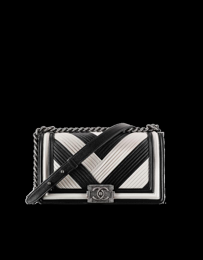 4129a36d58 Sac boy chanel, veau plissé & métal ruthénium-noir & blanc - CHANEL ...