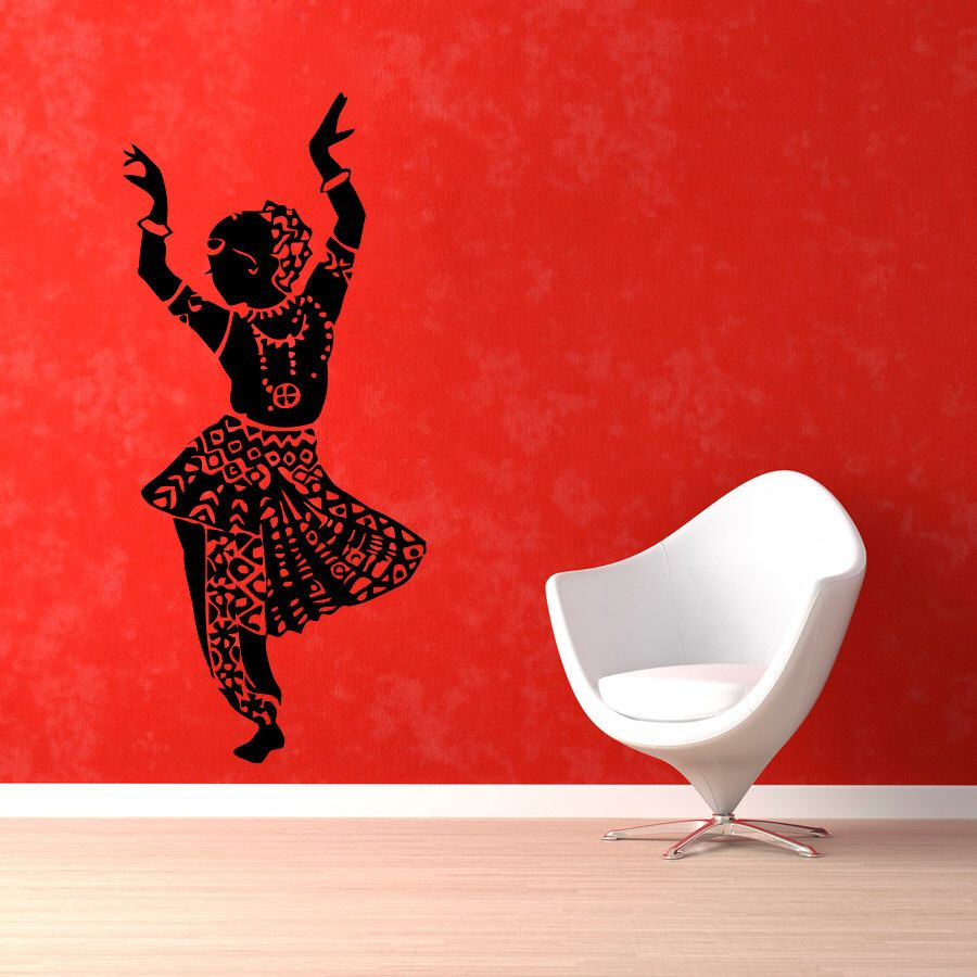Photo of Indian Woman Wall Decals. Belly Dance Decals. Indian Dances Wall Vinyl Decal. Dance School Wall Decor. Vedic Decor KG436