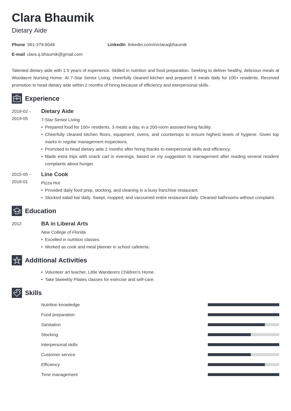 dietary aide resume example template newcast in 2020 Job