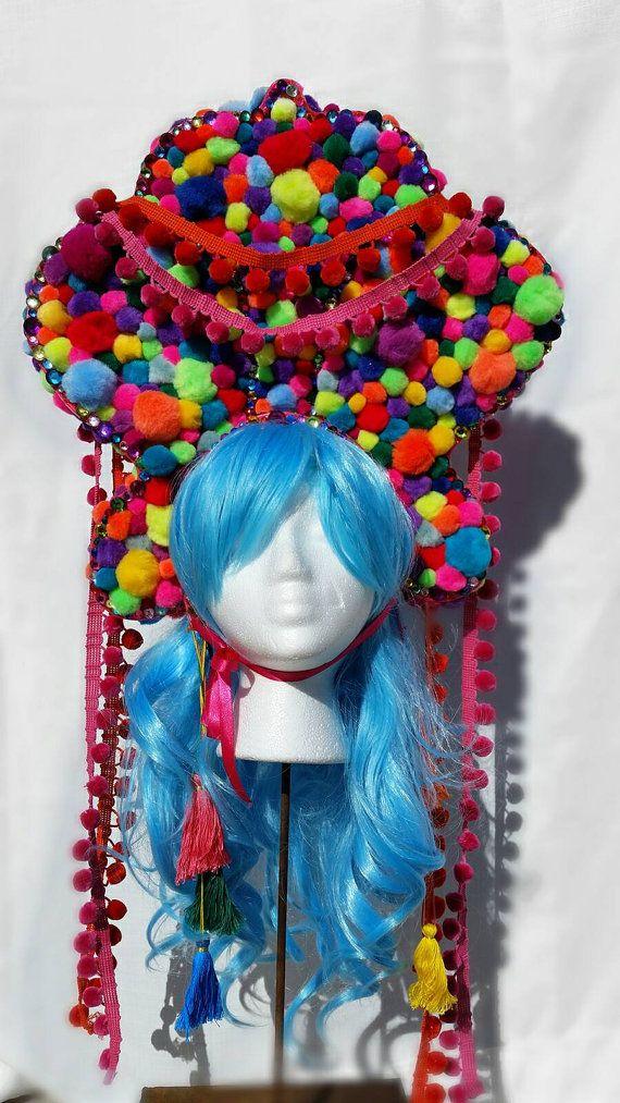 Burning Man, El wire neon light up bubble gum pom pom headdress ...