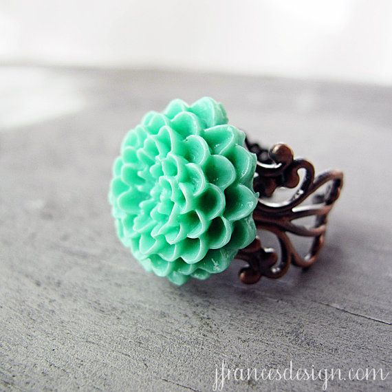 Light Turquoise Flower Ring Adjustable Filigree by jFrancesDesign