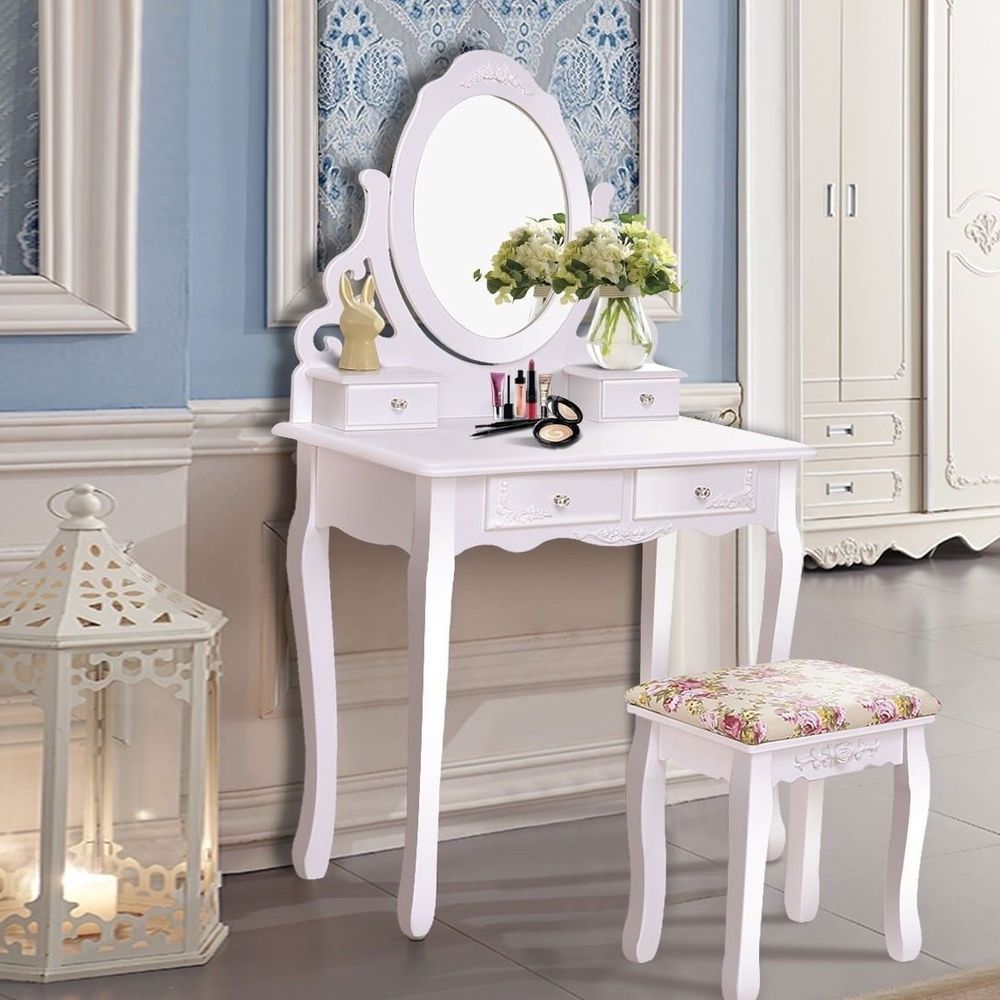 Vanity Table Stool Set Dressing Makeup White Traditional