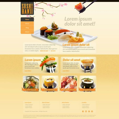 Sushi Hanii Free Website Template Free Restaurant Website - free food menu template