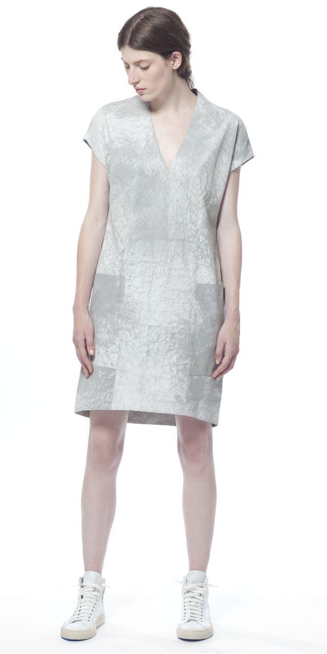 Polygon Cloud Mist Leather Dress [ 1278 x 640 Pixel ]