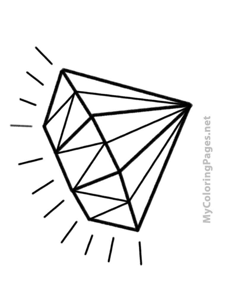Diamond Printable Coloring Page Shape Coloring Pages Coloring Pages Diamond Template
