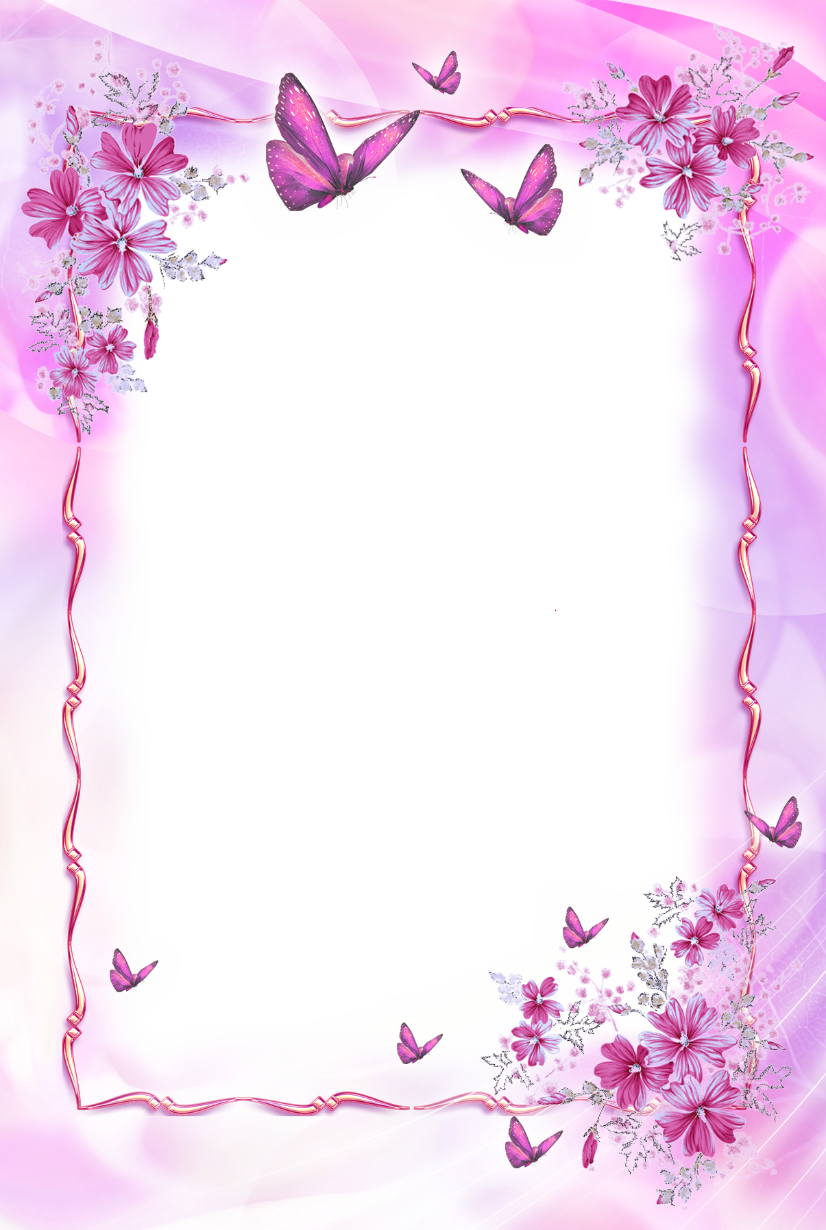 pink transparent frame with butterflies