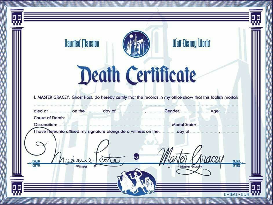 Pin by Laura Harris on Disney crafts Death certificate