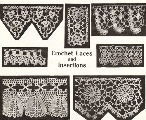 7 Vintage Retro Pretty Crochet Lace Edgings Pattern Repro Vintage