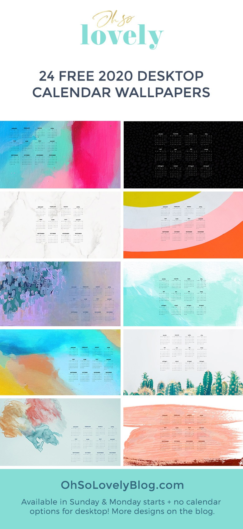 Free 2020 Desktop Wallpapers 24 Designs To Choose From