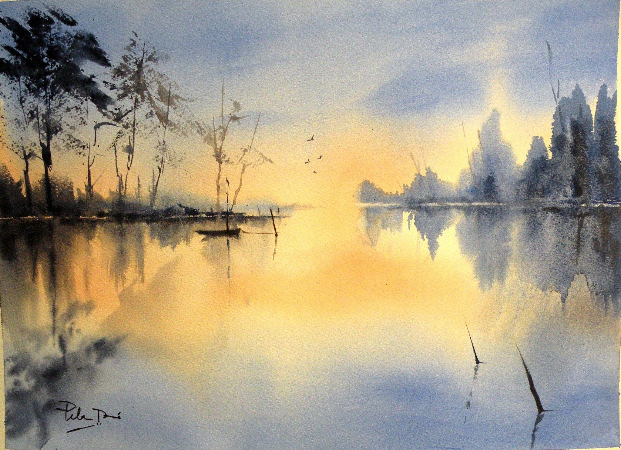 Epingle Par Sarah Laman Sur Watercolor Art Peinture Paysage