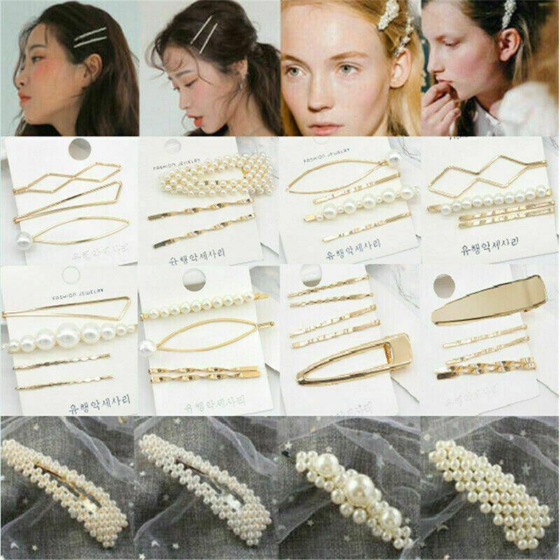 New Fashion Girls Pearl Hair Clips Snap Barrette Hairpin Bobby Hair Accessories