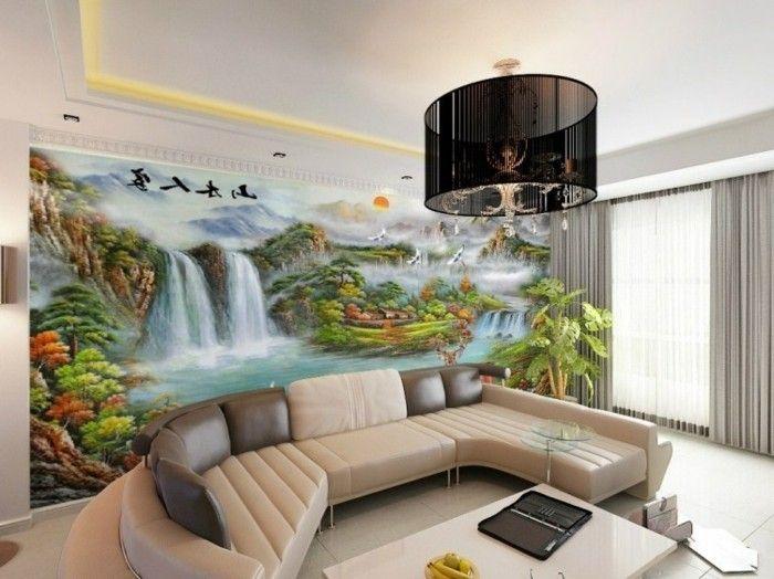 kreative fototapete im tollen wohnzimmer Wandgestaltung Ideen - wohnzimmer gestalten tapeten