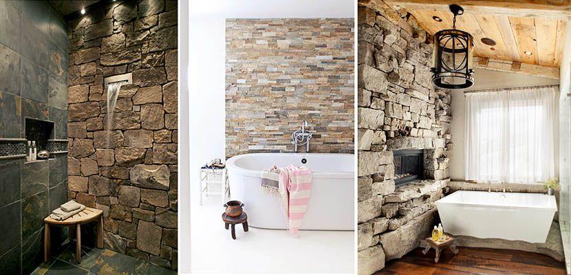 Piedra para decorar tu cuarto de ba o for Banos con pared de piedra