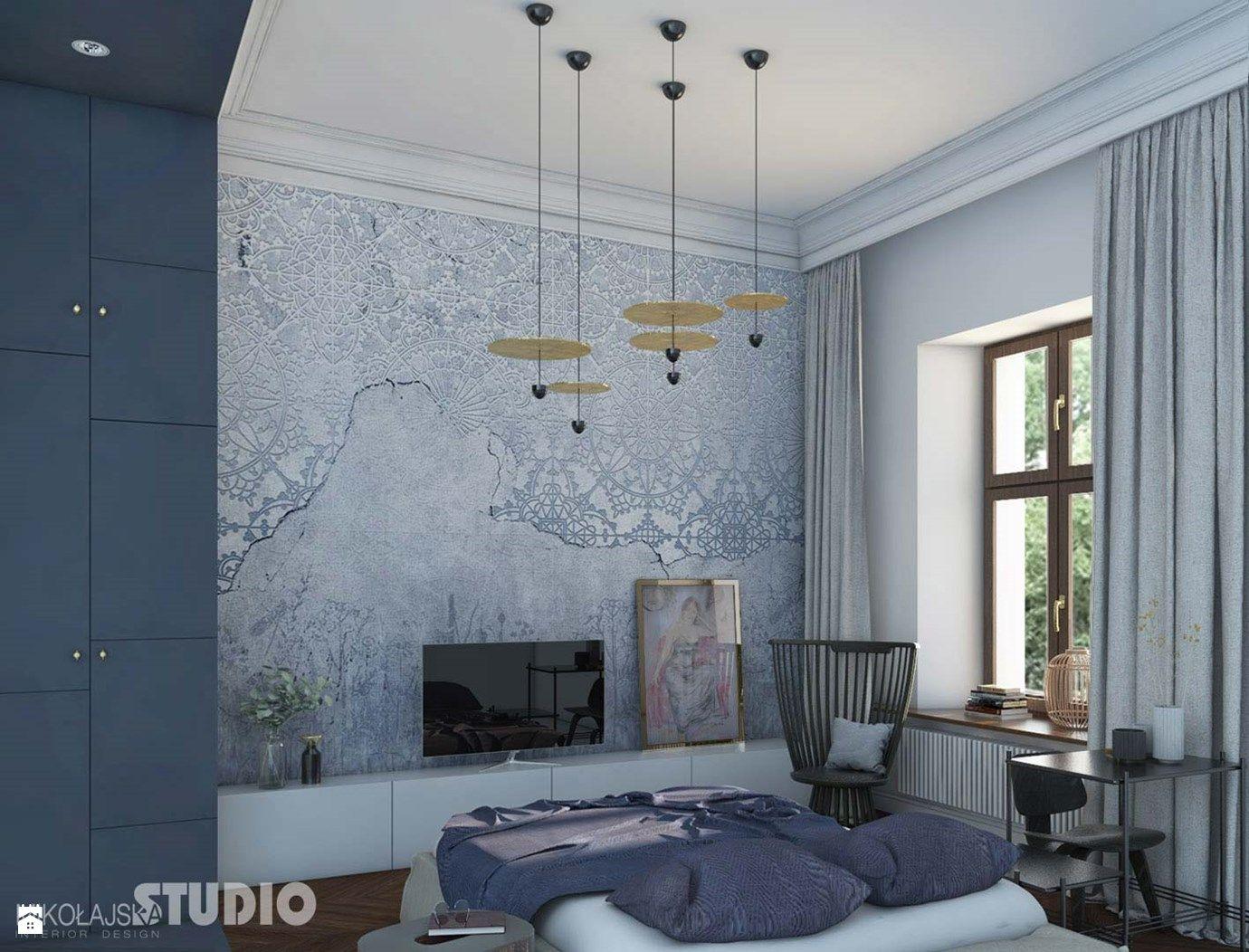 elegancka sypialnia; fototapeta z ornamentem - zdjęcie od ...