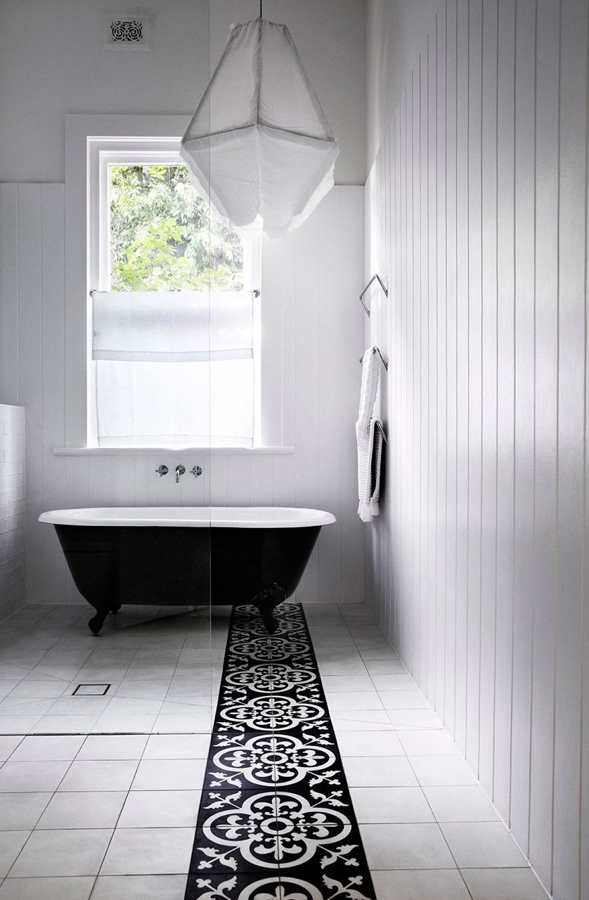 DIY bathroom floor tile black white stripe - Google Search | B&W ...