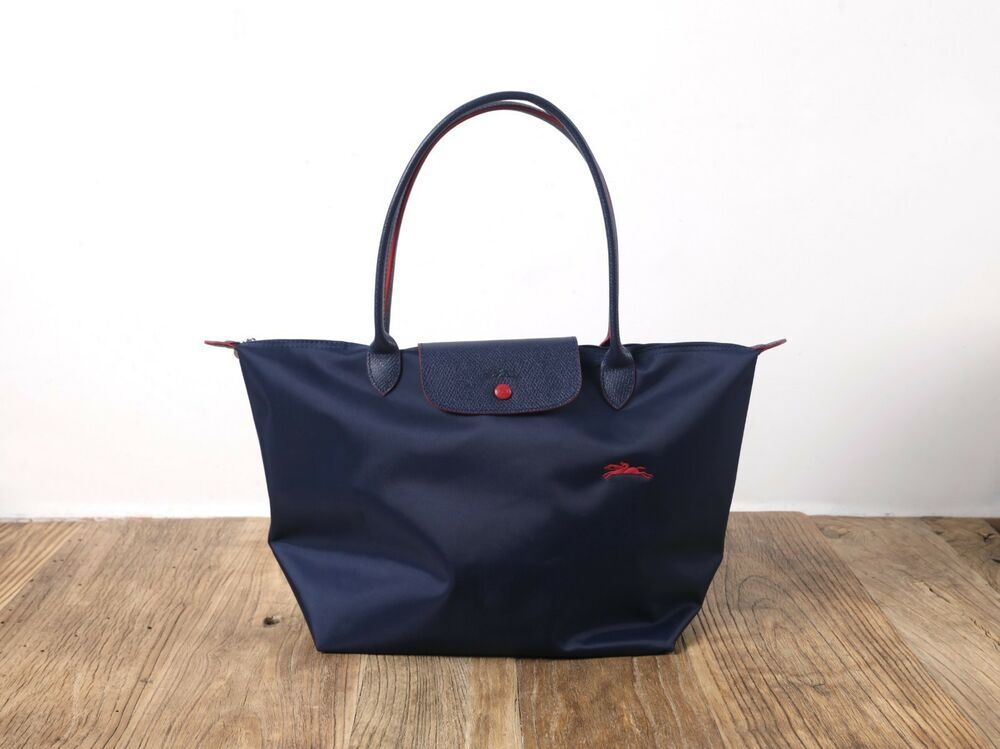 8c622242ad94 Auth Longchamp Classic Le Pliage Navy Blue Nylon Large Tote Leather Strap  Handle  fashion  clothing  shoes  accessories  womensbagshandbags ...