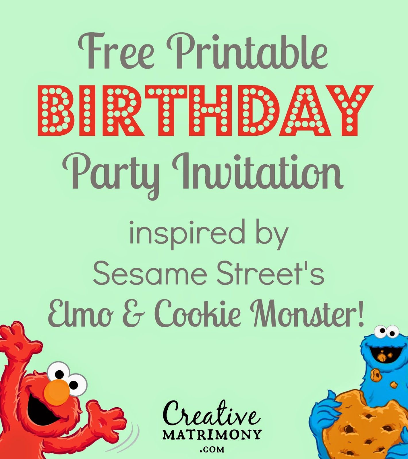 FREE PRINTABLE! Adorable Sesame Street themed birthday invitation ...