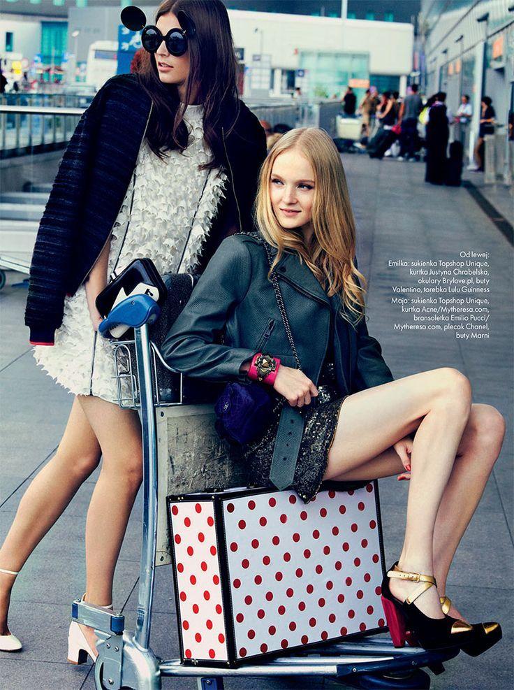 Emilia Nawarecka Maja Salamon And Karolina Waz Are Jet Setters For Elle Poland S November Cover Shoot Fashion Womens Travel Fashion Editorial Fashion