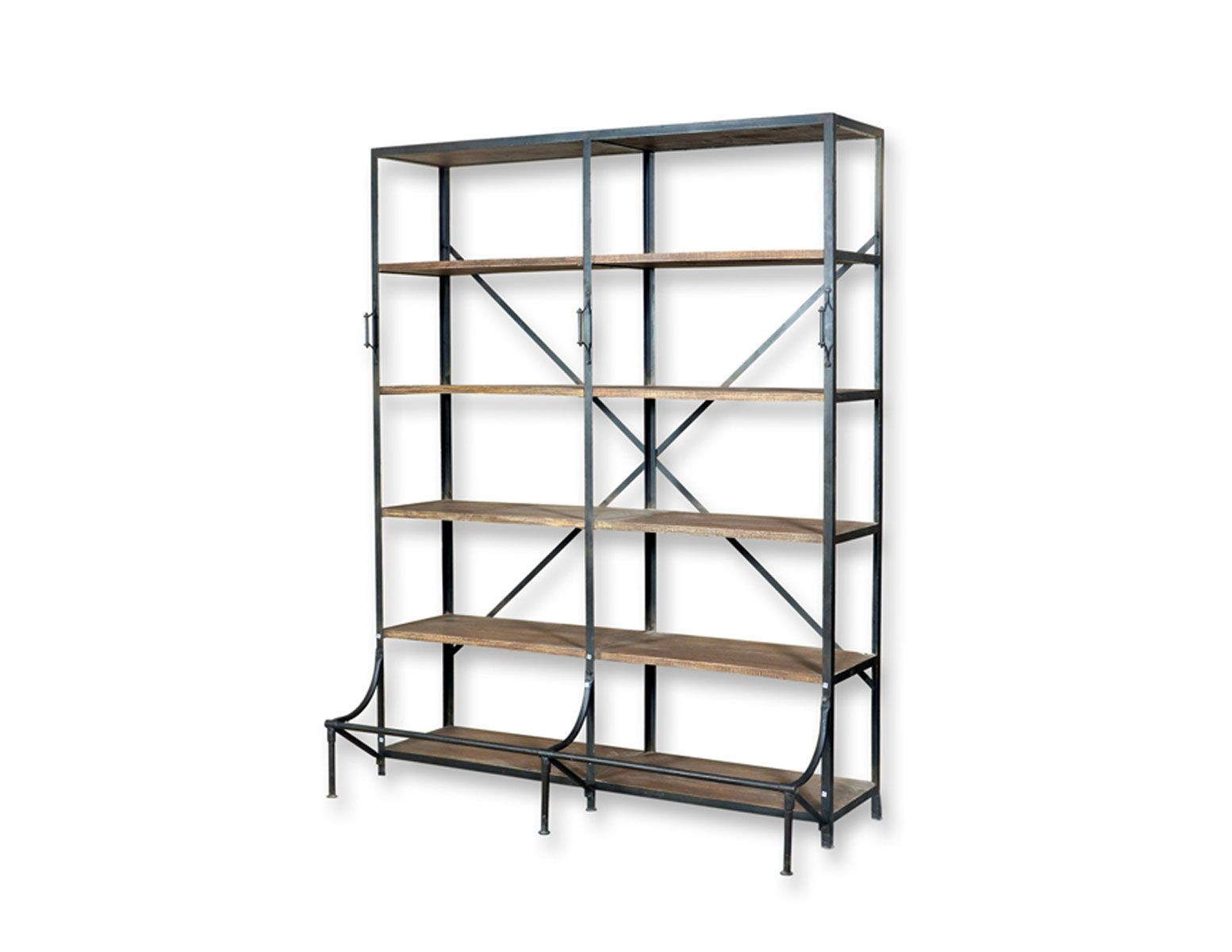Industrial-style Wooden Bookcase. Metal Accents. Http://www
