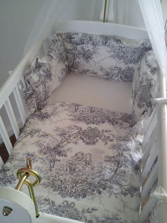 Vintage French Toile De Jouy Cradle Crib Bedding Bumper
