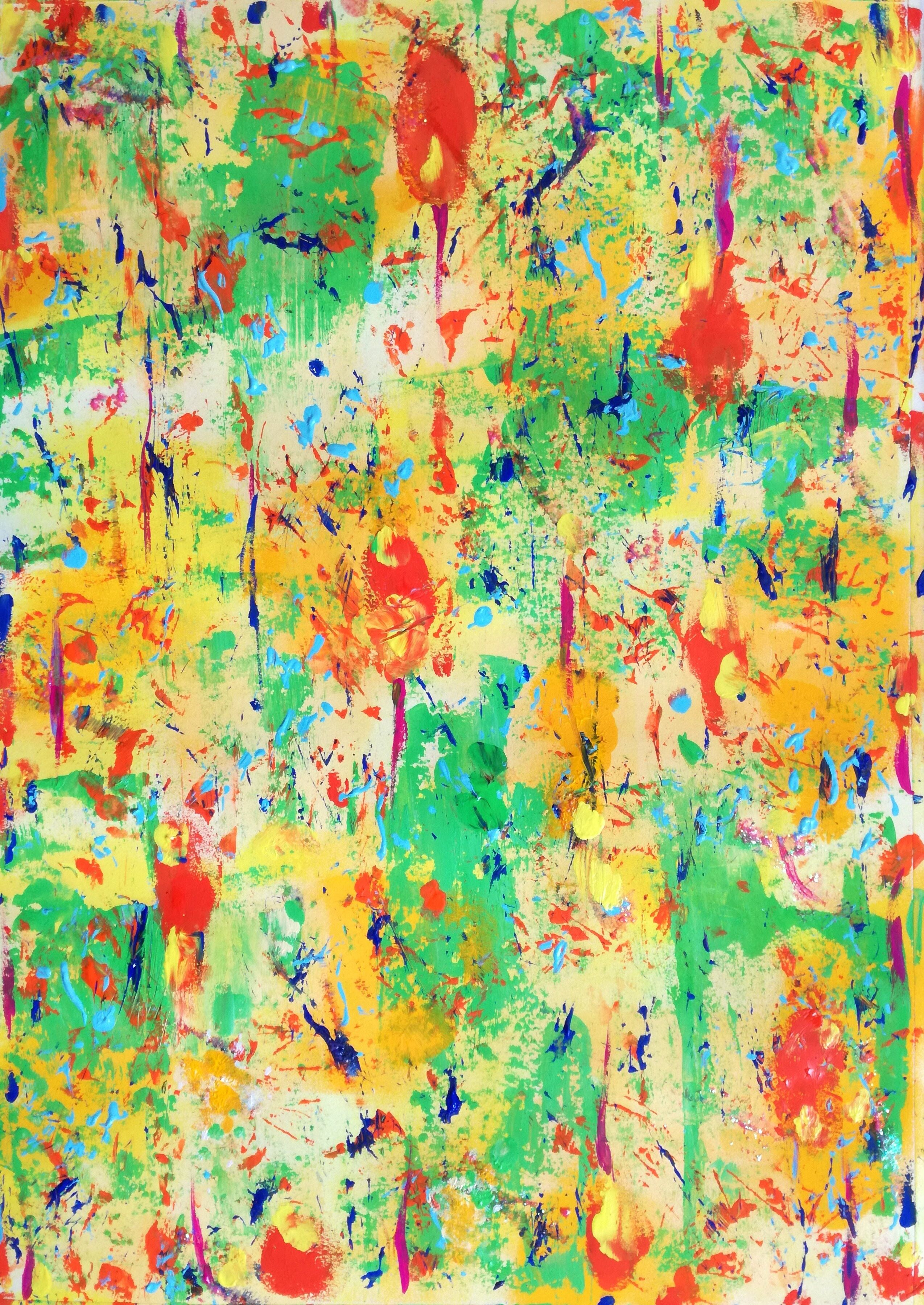 abstract painting made with acrylics on watercolor paper size 27