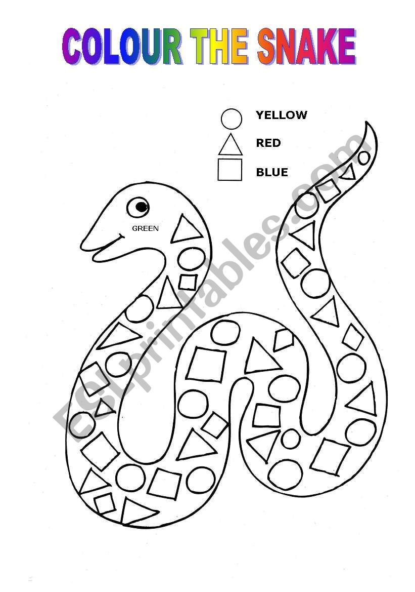 Colour The Snake Following The Instructions Shapes Rhyming Preschool Snakes For Kids Preschool Colors [ 1169 x 821 Pixel ]