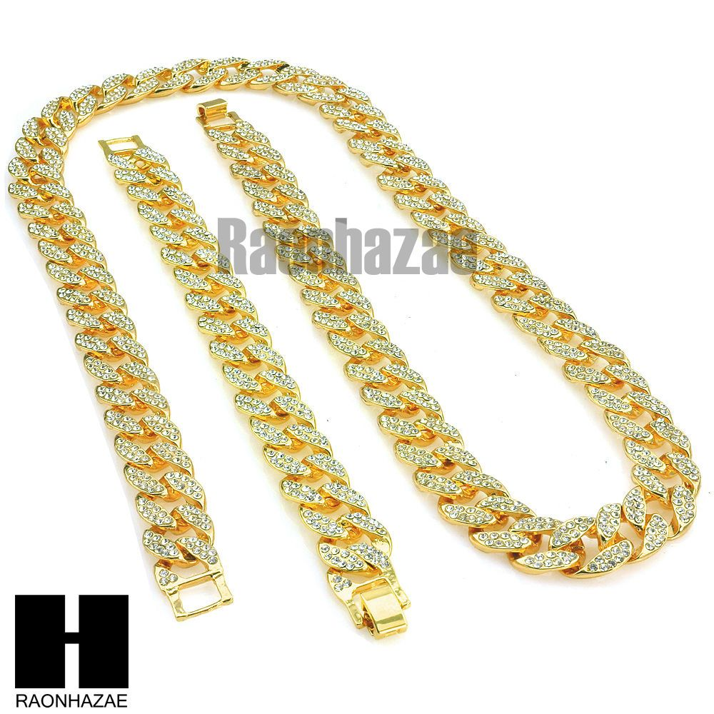 Iced Out Hip Hop Mens 14k Gold Finish 16mm 30