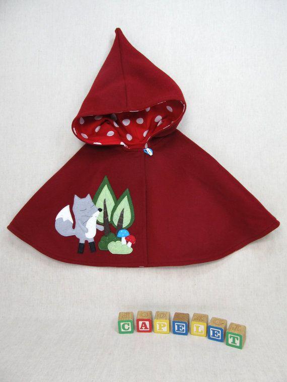 4443fb37dc5f Pixie Capelet - Red Riding Hood. Children Cape
