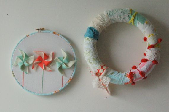 PINWHEEL embroidery wall hoop : by twogreenolivetrees on Etsy