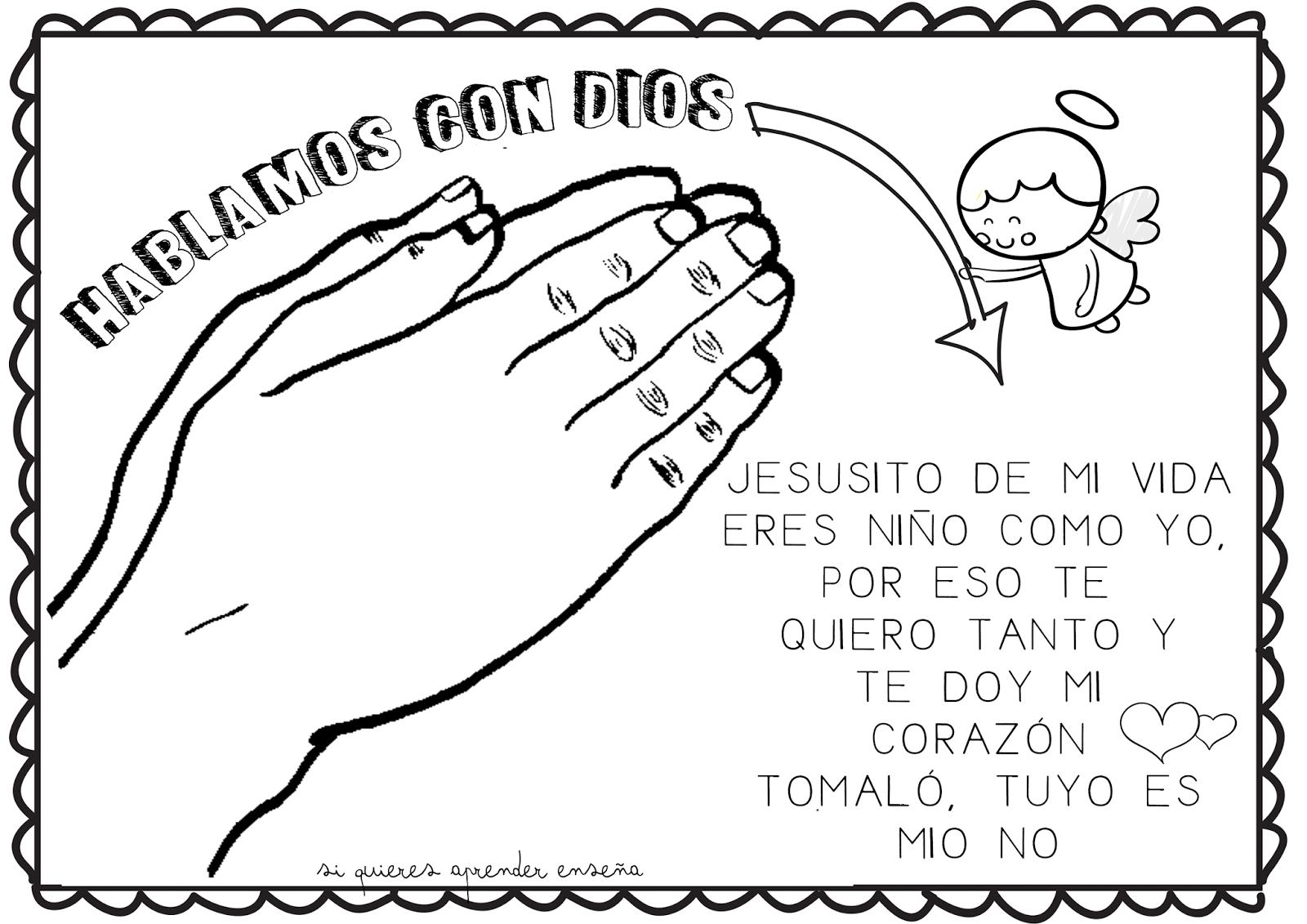 Si Quieres Aprender Enseña Hablamos Con Nuestro Amigo Dios Oraciones Para Niños Actividades De La Escuela Dominical Enseñanza Religiosa