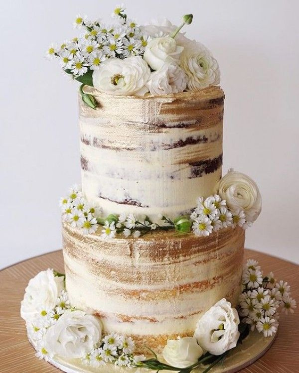 Sweet And Simple Naked Wedding Cakes: Top 18 Semi-Naked Wedding Cakes With Flowers
