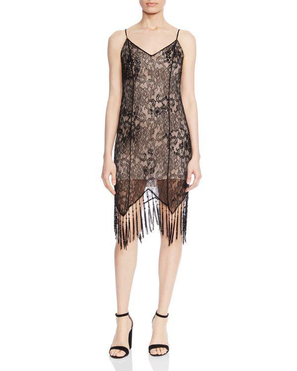 Haute Hippie Woman Fringed Lace And Satin Mini Skirt Black Size 8 Haute Hippie OBmo5QN7