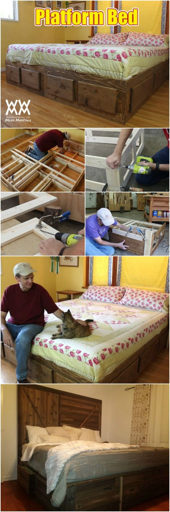 How to build a king size bed with extra storage underneath free