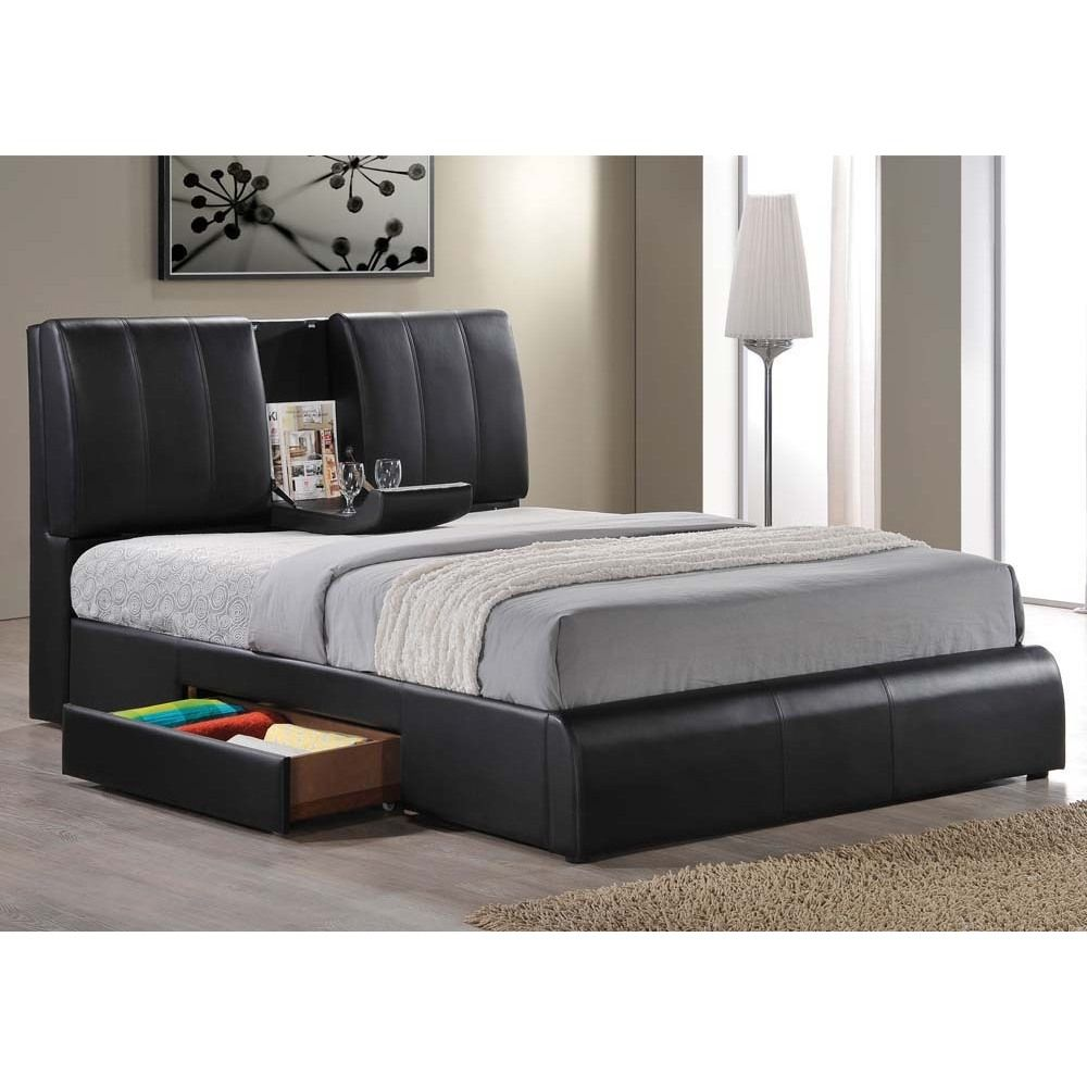This Kofi Black Modern Style Bed Features Built In Center Tray On Headboard And Extra Storage Drawer One Side Of The Below Great For Your Bedroom Or