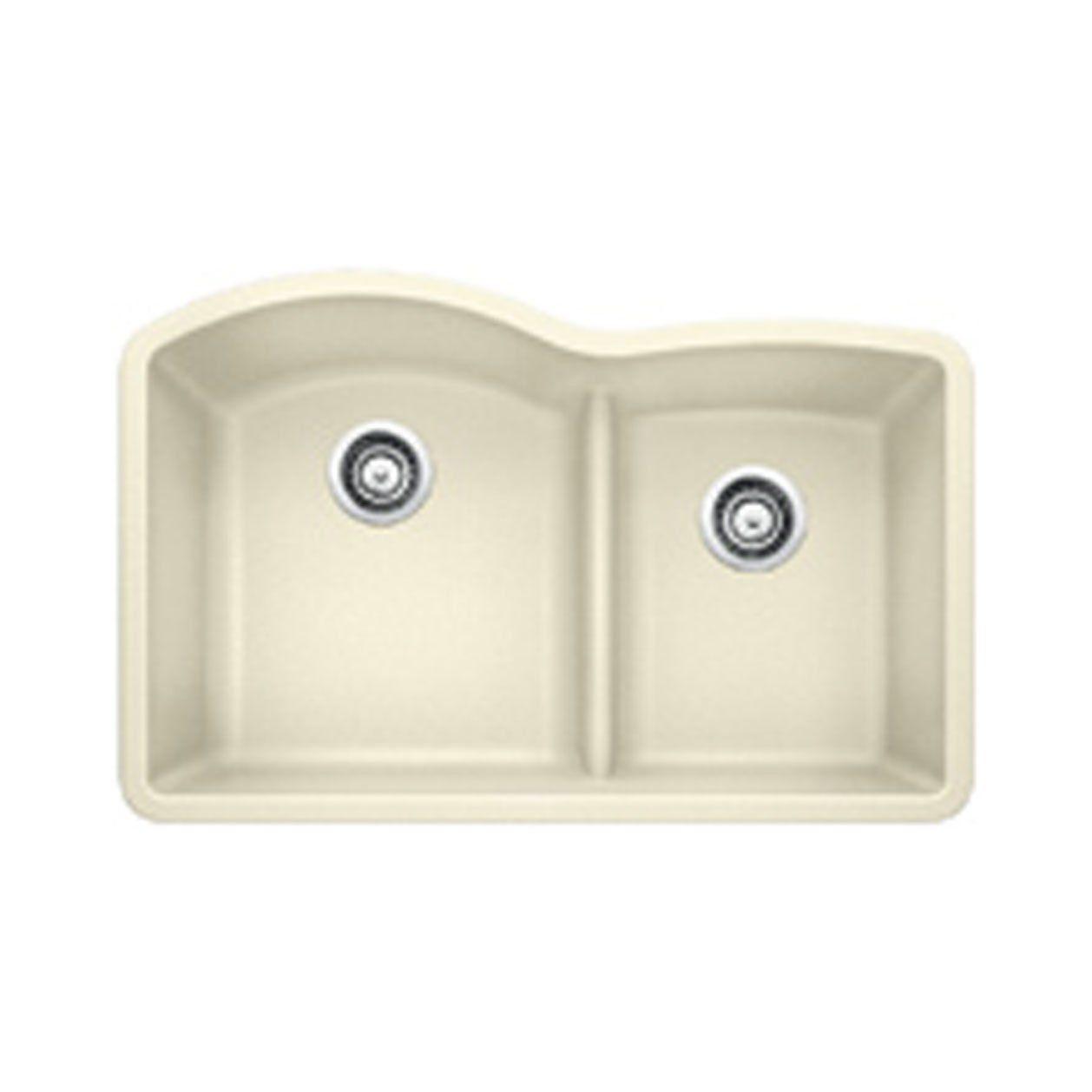Blanco 441594 Diamond 1 75 Low Divide Undermount Kitchen Sink In Biscuit Sink Double Bowl Undermount Kitchen Sink Undermount Kitchen Sinks