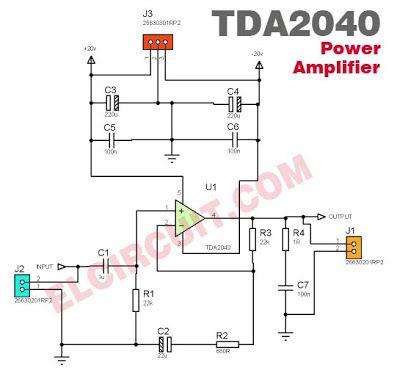 tda2040 power amplifier circuit audio schematic hifi amplifier