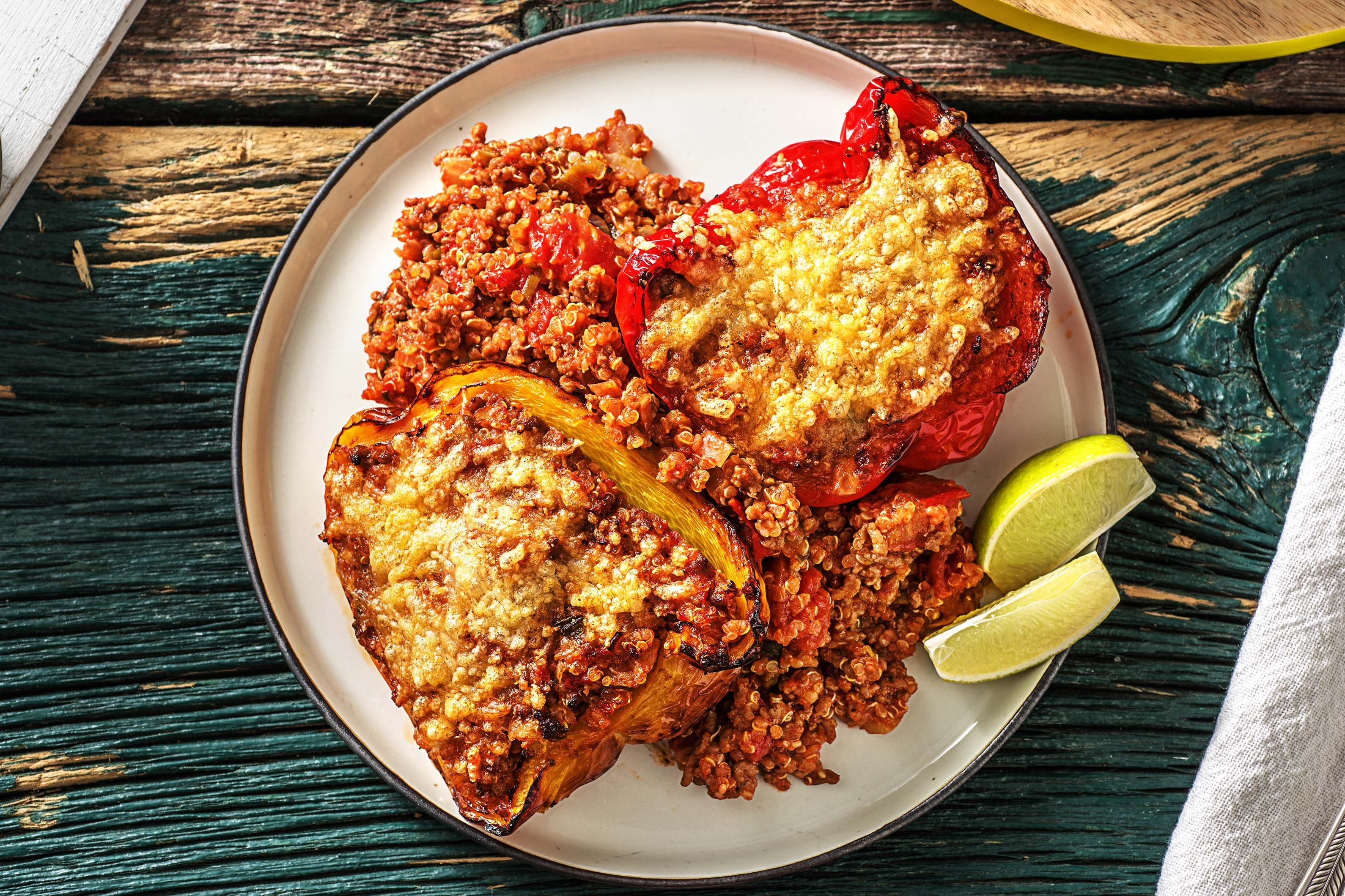 Southwestern Stuffed Peppers From Hellofresh I D Substitute Meatless Ground Beef To Make It Vegetarian Stuffed Peppers Beef Recipes Quinoa Stuffed Peppers