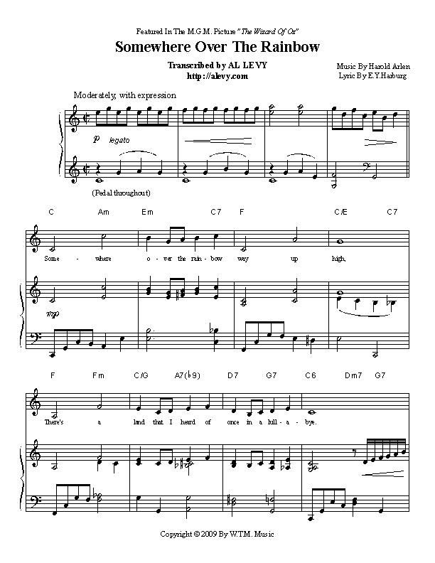 Piano somewhere piano sheet music : Would love to have the sheet music to Somewhere Over The Rainbow ...