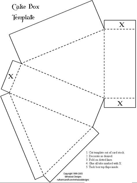 Cake Box Templates And Many More  Printable Pattern