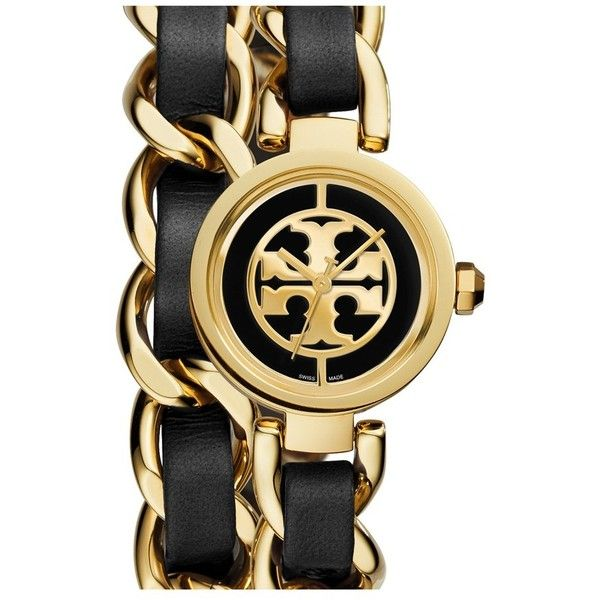 Tory Burch 'Mini Reva' Double Wrap Chain Watch, 20mm ($395) ❤ liked on Polyvore featuring jewelry, watches, tory burch bracelet, dial watches, tory burch, logo watches and tory burch watches
