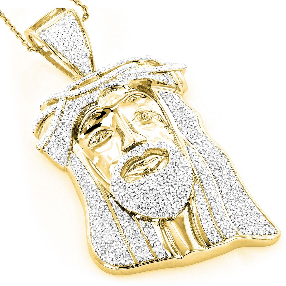 Luxurman Hip Hop Jewelry 10k Gold 1 12ct TDW Diamond Jesus Face