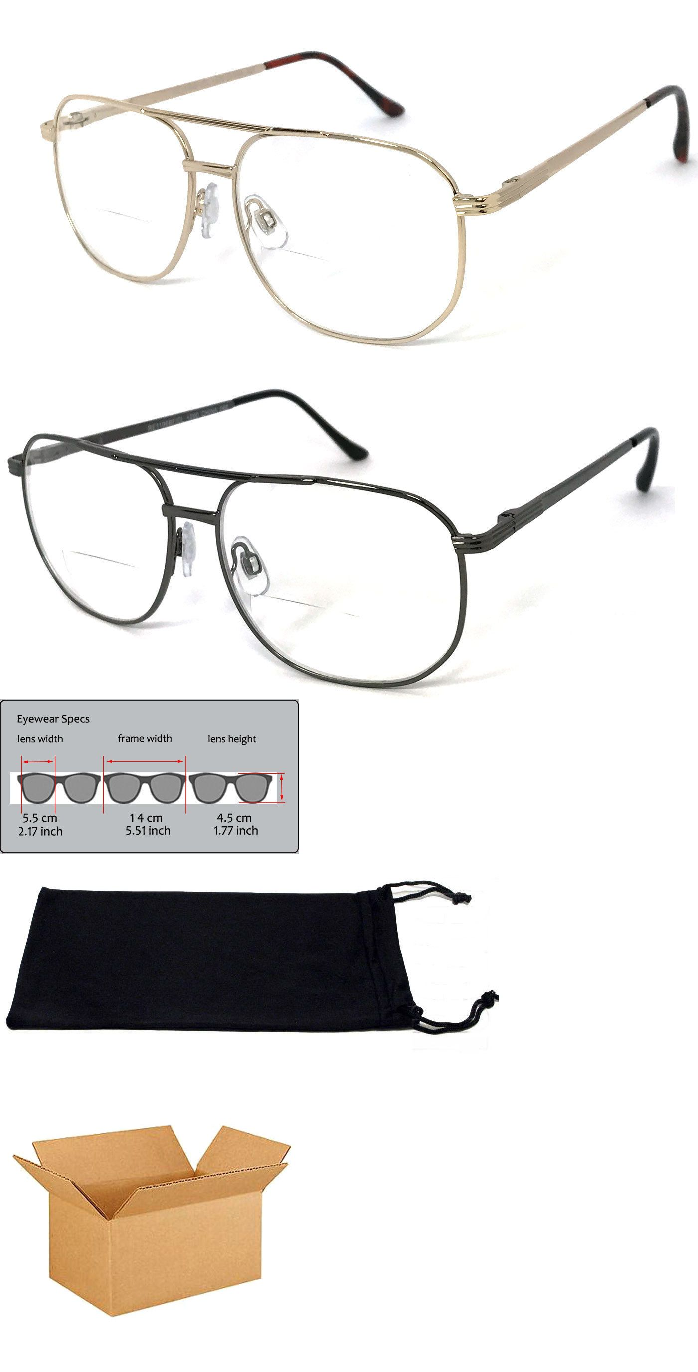 28b4068564d Reading Glasses 67670  1 Or 2 Pairs Metal Frame Large Aviator Bifocal Reading  Glasses Spring