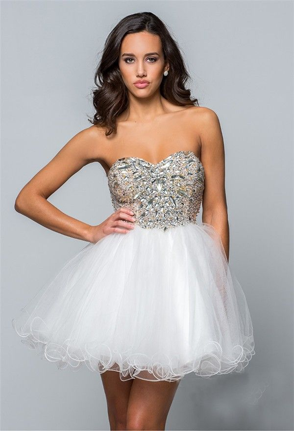 e42a6d00bc6 Puffy Strapless Short Mini White Tulle Beaded Cockatil Prom Dress Corset  Back
