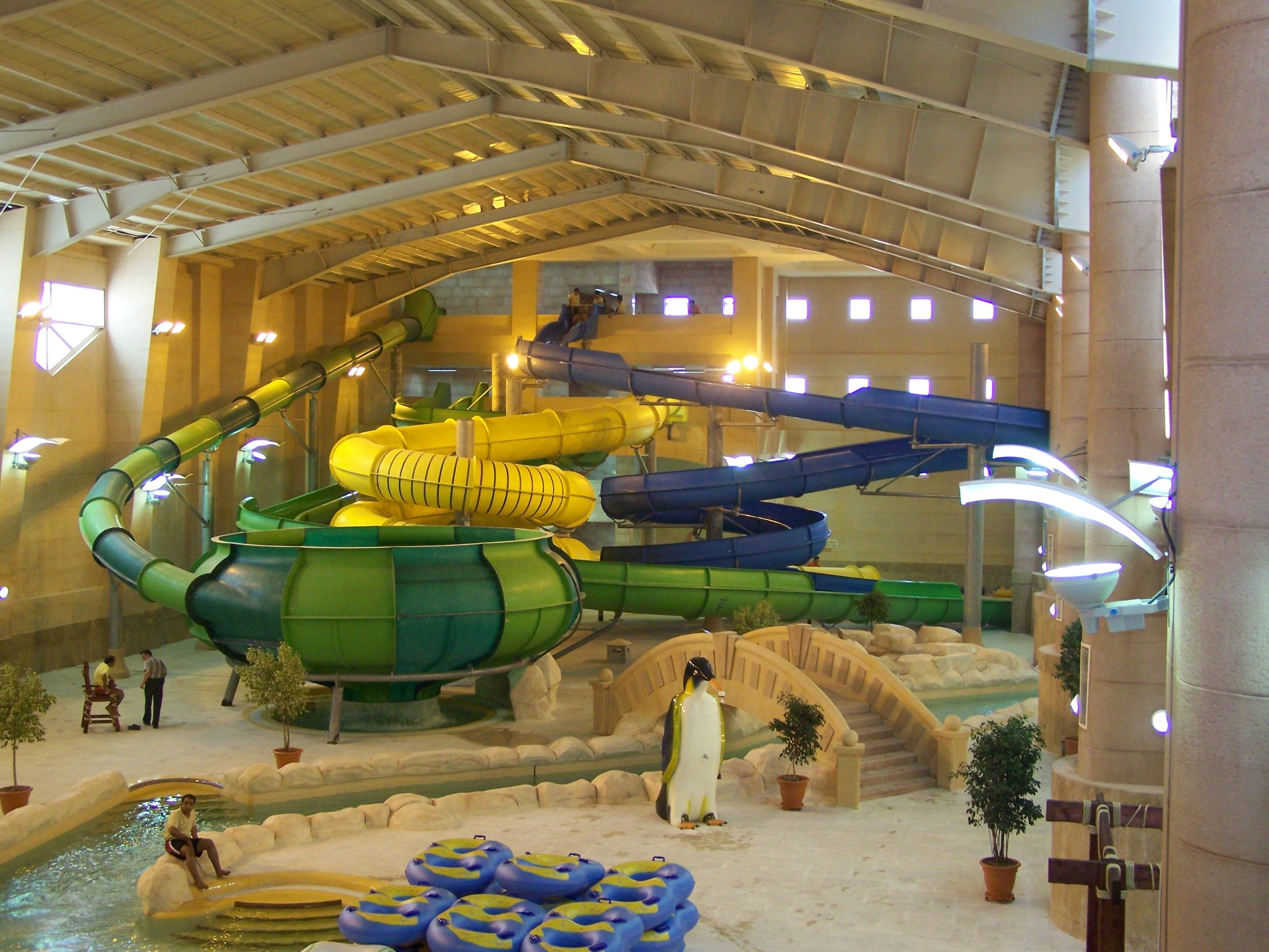 Water waves land mashhad iran indoor water parks in - Indoor swimming pool with slides london ...