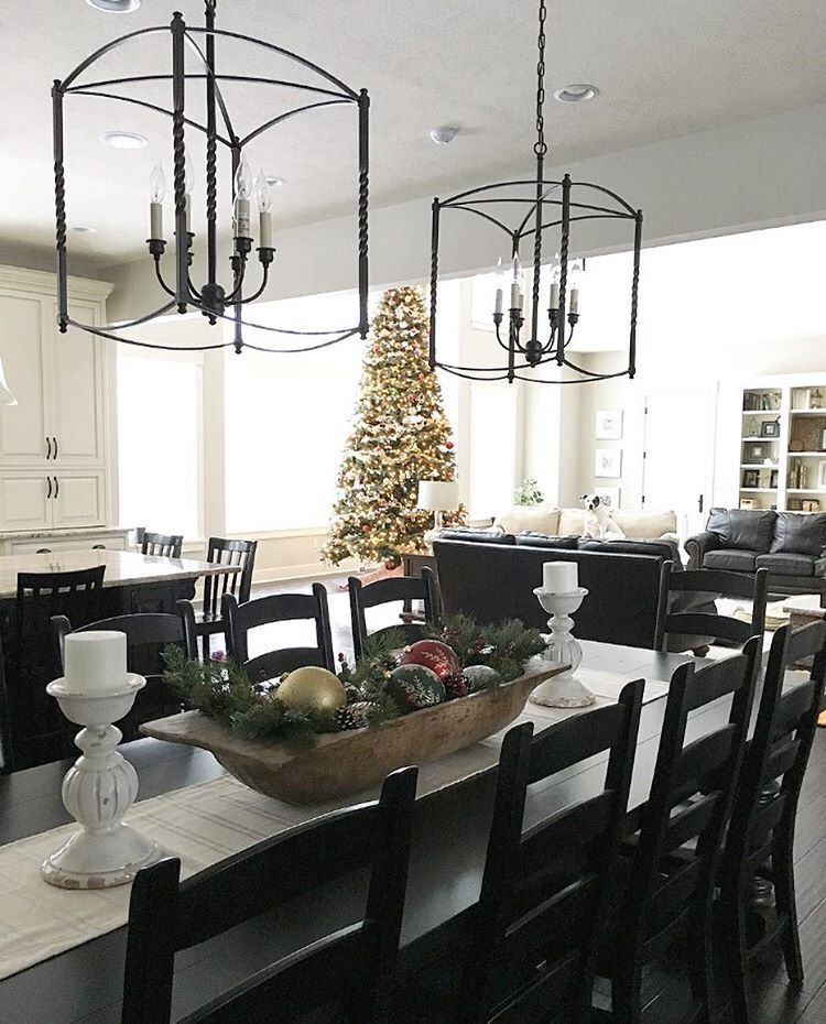 eat in kitchen farmhouse dining table overlooking christmas tree two tone kitchen black and on farmhouse kitchen black and white id=16960