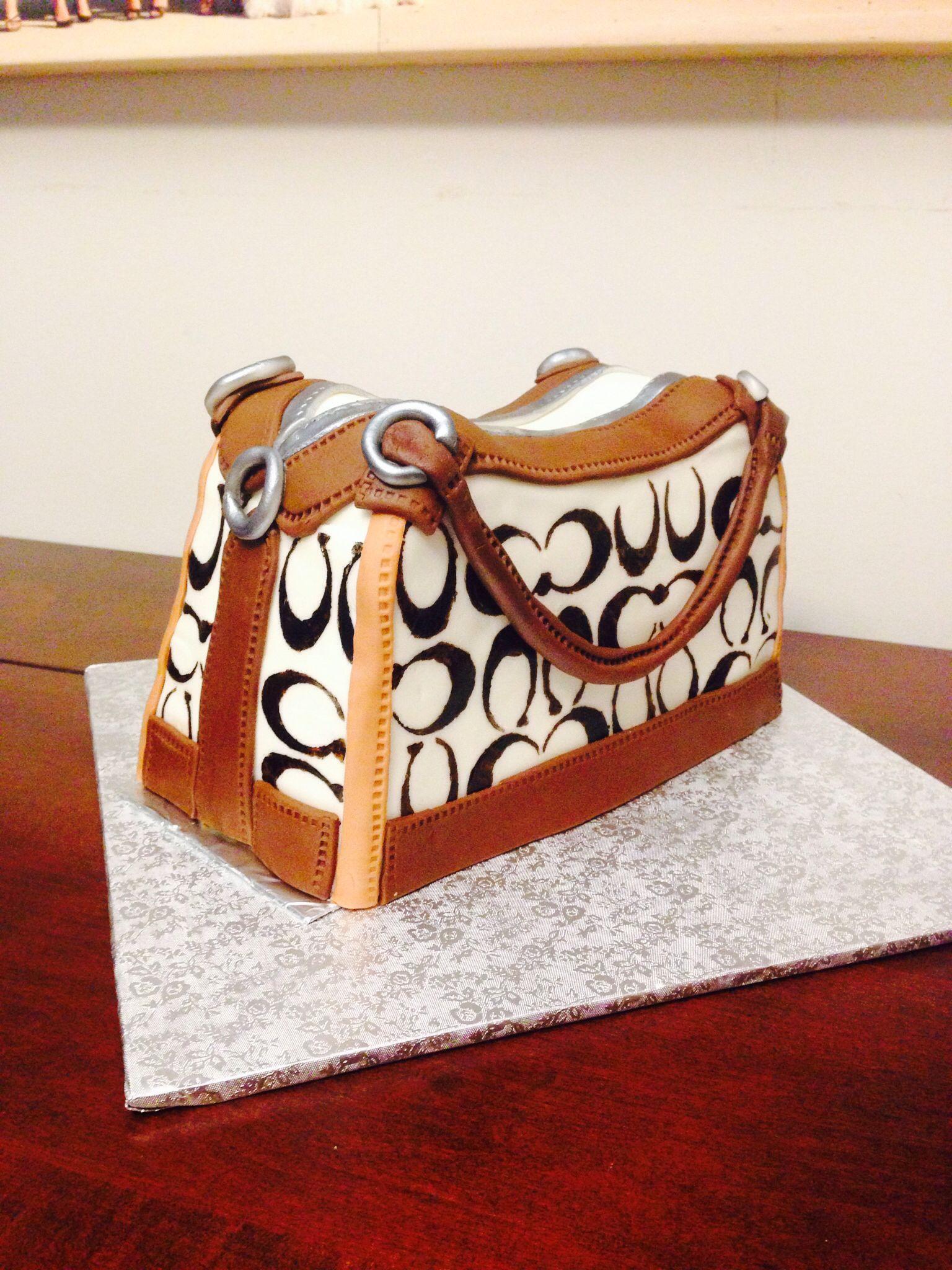 Coach purse cake. Gluten free chocolate fudge cake with vanilla buttercream and marshmallow fondant accents.