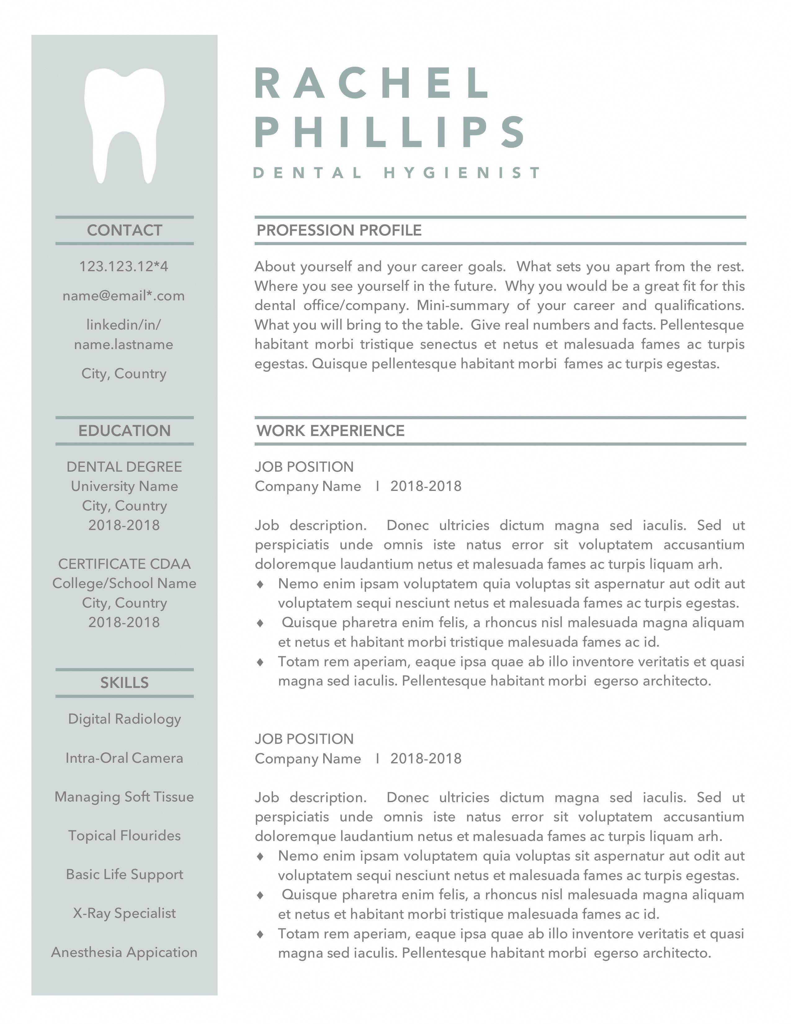 dental resume template for word hygienist cv dentist
